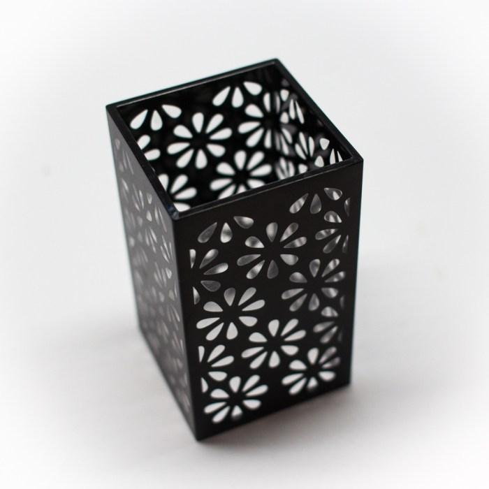 Acrylic Bathroom Cup Organizer Black Flower