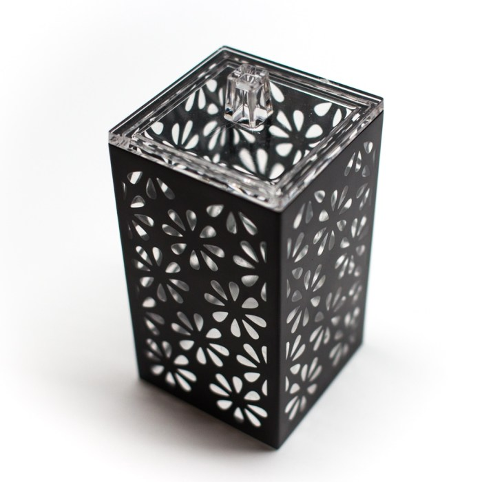 Rectangle Accessories Bath Bottle with Lid Black Flower