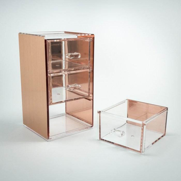 Rose Gold Mini Desktop Storage Box with 3 Drawers