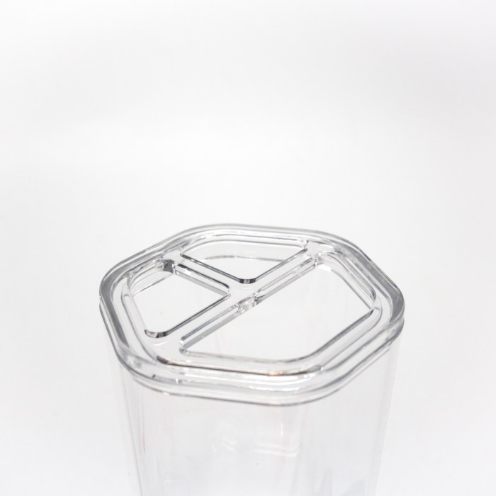 Hexagonal Shapes Design Brush Stand Holder Clear