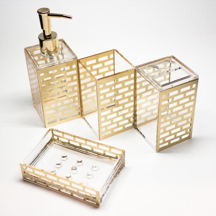 Rectangle 5 Pcs Bathroom Accessories Set Gold Block
