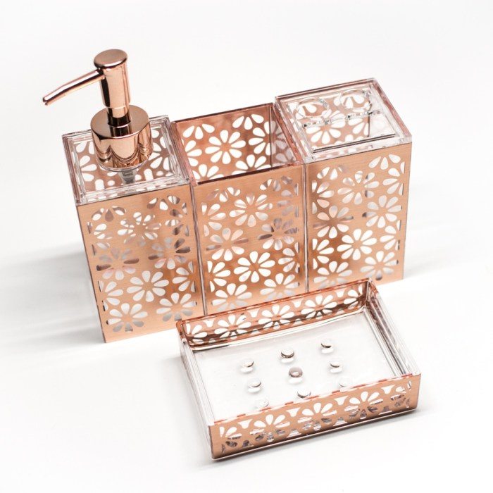 Rectangle 5 Pcs Bathroom Accessories Set Rose Gold Flower