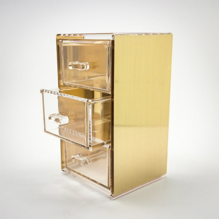 Gold Mini Desktop Storage Box with 3 Drawers