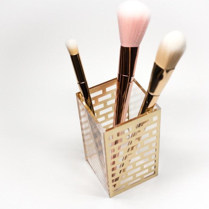 Acrylic Bathroom Cup Organizer Gold Block