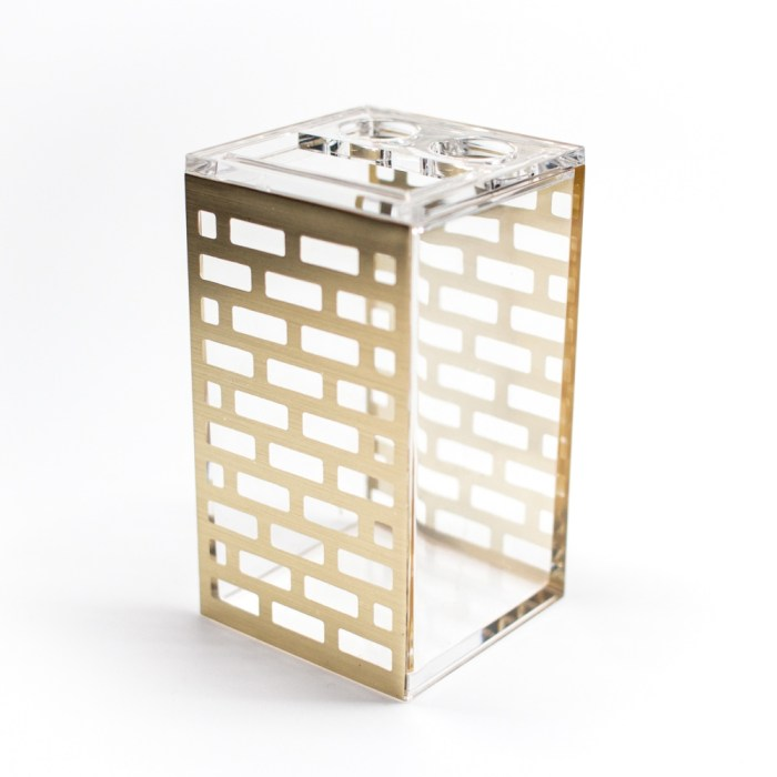 Rectangle Accessories Bath Toothpaste Holder Gold Block