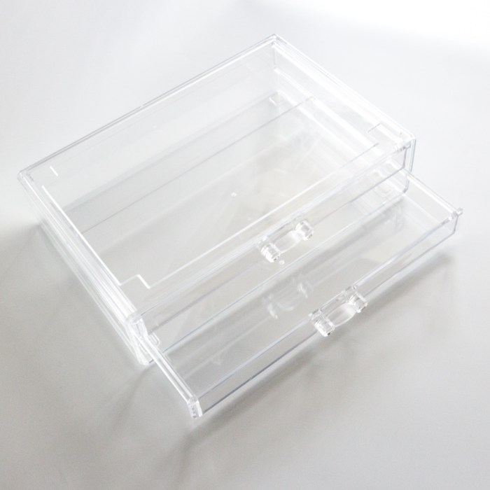 Large Transparent Multipurpose Storage Box With 2 Wide Drawers