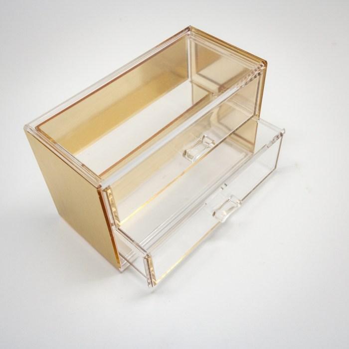 Gold Mini Desktop Storage Box with 2 Wide Drawers