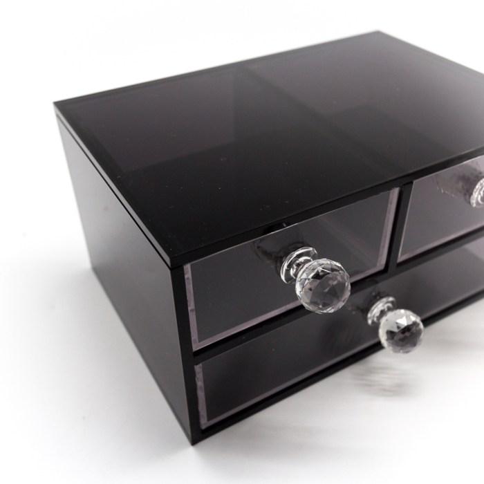 Hand-made Horizontal Triple Drawer Organizer Black