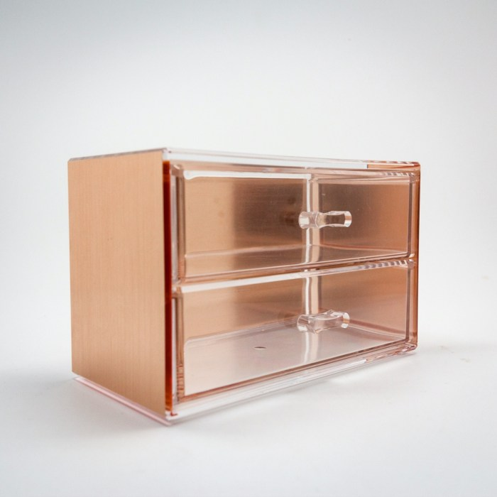 Rose Gold Mini Desktop Storage Box with 2 Wide Drawers