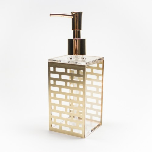 Acrylic Bathroom Liquid Soap Dispenser Gold Block