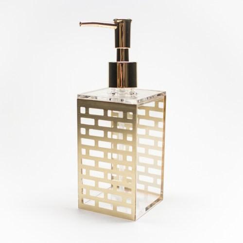 Acrylic Bathroom Liquid Soap Dispenser Gold Block