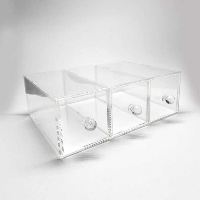 Transparent Three Grids Acrylic Makepup Organizer with Diamond Holder
