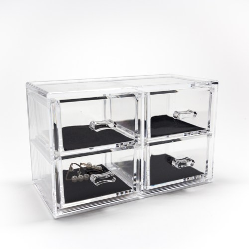 Tabletop Mini Cosmetic 4 Drawers Organizer Velvet