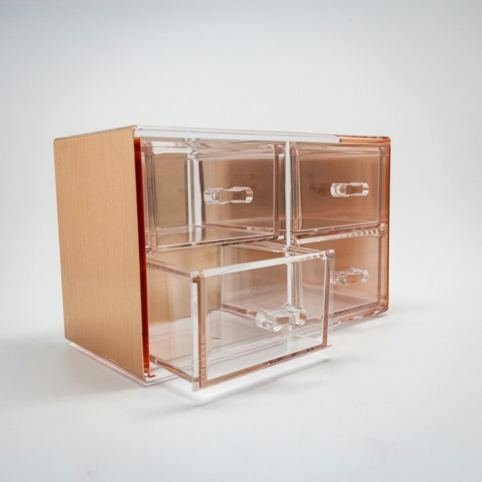 Rose Gold Mini Desktop Storage Box with 4 Drawers