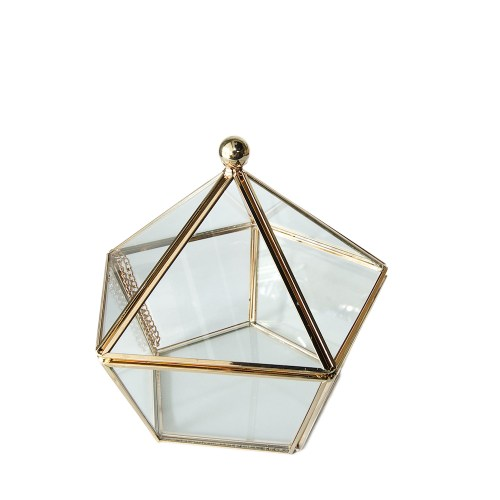 Vintage Copper Metal Pentagon Jewelry Accessories Organizer