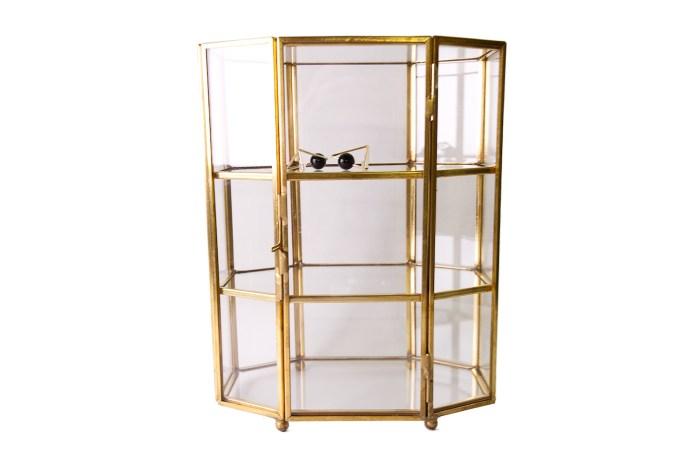 Vintage Copper Metal Hexagon Glass 3 layer Storage Box