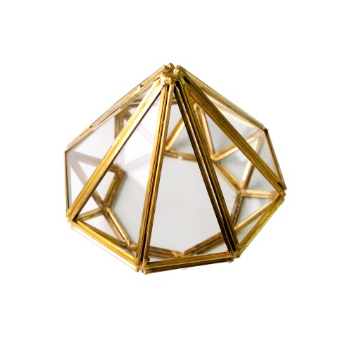 Gold Metal Diamond shaped Glass Accessories Organizer