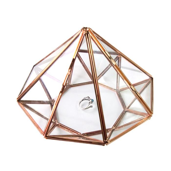 Large Rose Gold Metal Diamond shaped Glass Accessories Organizer