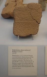 Tablilla babilonia que recoge la observación del cometa Halley hacia el 22-28 de septiembre del año 164 a.C.