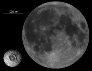 Comparación entre el tamaño de la Luna y Ceres