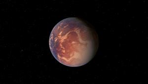 Recreación artística de Gliese 581e