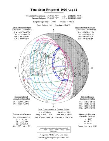 Zona en la que será visible el eclipse parcial, o total del 12 de agosto de 2026