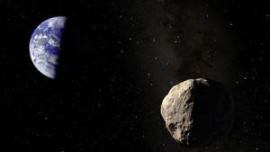 Representación artística del asteroide Apofis acercándose a la Tierra