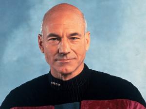 Patrick Stewart como el Capitán Picard de Star Trek.