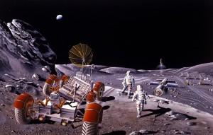 Concepto artístico de 1984 sobre una posible base lunar
