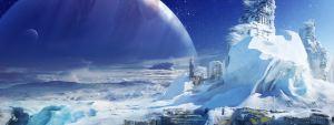 Esta imagen es un concepto artístico de Europa, un satélite de Júpiter, tal y como lo imaginaron los desarrolladores del videojuego Destiny. Crédito: Bungie