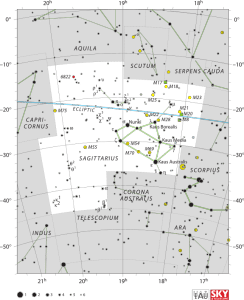Mapa de la constelación de Sagitario y cercanías. Crédito: IAU and Sky & Telescope magazine (Roger Sinnott & Rick Fienberg)