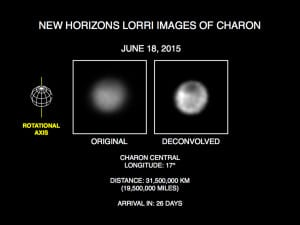 Imágenes de Caronte del telescopio LORRI de la sonda New Horizons. Crédito: Credits: NASA/Johns Hopkins University Applied Physics Laboratory/Southwest Research Institute