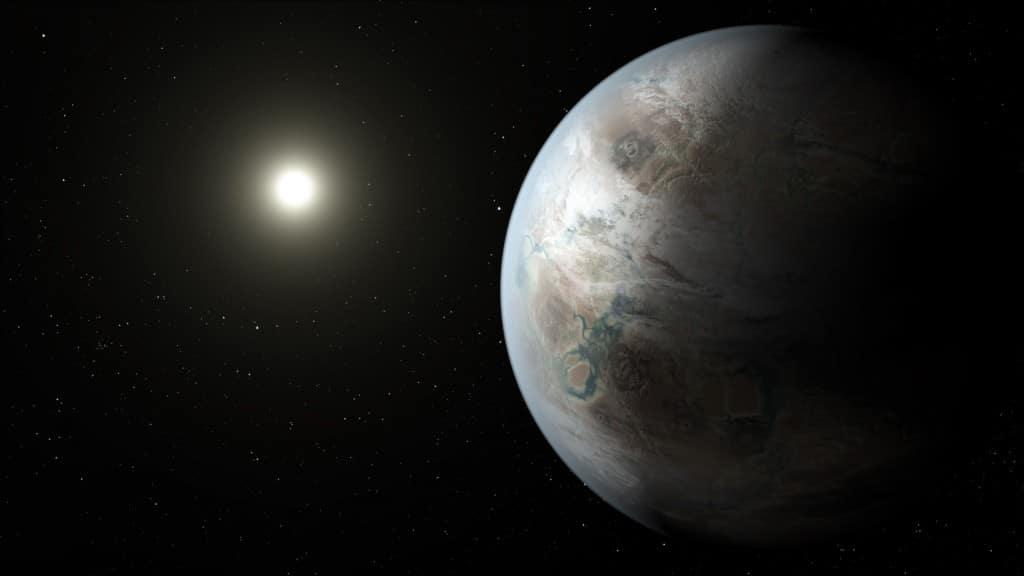 Este concepto artístico muestra uno de los posibles aspectos del planeta Kepler-452b. Crédito: NASA/JPL-Caltech/T. Pyle
