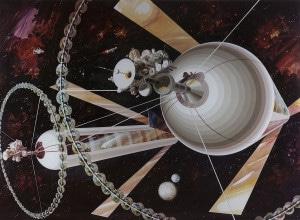 Recreación de los cilindros de O'Neill vistos desde el espacio. Crédito: Rick Guidice NASA Ames Research Center