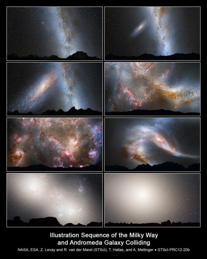 Esta serie de imágenes muestra cómo se predice que será la colisión entre ambas galaxias. De izquierda a derecha, y de arriba a abajo. Primera fila: Presente, y dentro de 2.000 millones de años. Segunda fila: Dentro de 3.750 millones de años y dentro de 3.850 millones de años (con un cielo completamente inundado de zonas de nacimiento de estrellas). Tercera fila: En 3.900 millones de años, mientras la formación de estrellas continua. Y en 4.000 millones de años, cuando ambas galaxias comiencen a deformarse. Cuarta fila: En 5.100 millones de años, los núcleos de ambas galaxias parecerán un par de lóbulos brillantes gigantescos. En 7.000 millones de años, las galaxias, ya unidas, dan lugar a una nueva galaxia elíptica, cuyo núcleo brillante domina el cielo nocturno. Crédito: NASA; ESA; Z. Levay y R. van der Marel, STScI; T. Hallas, y A. Mellinger