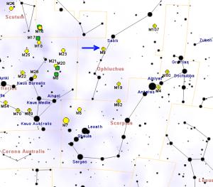 La constelación de Ofiuco es muy grande, y el cúmulo M9 muy difícil de observar, así que vale la pena aprender a reconocer la estrella Sabik. Crédito: Roberto Mura
