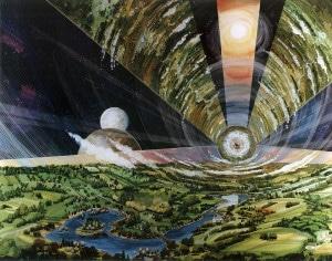 Recreación artística de cómo sería el interior de un cilindro de O'Neill. Crédito: Rick Guidice, NASA Ames Research Center