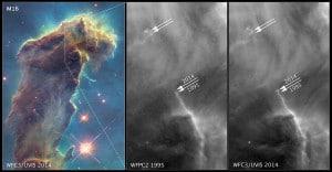 Así es cómo ha ido cambiando esta región de los Pilares de la Creación en un lapso de 20 años. Crédito: NASA, ESA, and the Hubble Heritage Team (STScI/AURA)