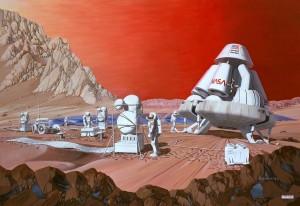 Concepto artístico (de 1.989) de una misión a Marte. Crédito: Les Bossinas of NASA Lewis Research Center