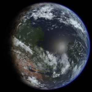 """Quizá hayas visto esta imagen antes. Es una recreación artística de cómo podría ser Marte si lo terraformásemos para tener las condiciones de la Tierra. Crédito: Usuario """"Ittiz"""" de Wikipedia"""
