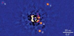 Imagen del sistema HR 8799, con las posiciones de los cuatro planetas en el momento de la observación. Crédito: NRC-HIA, Christian Marois, Keck Observatory