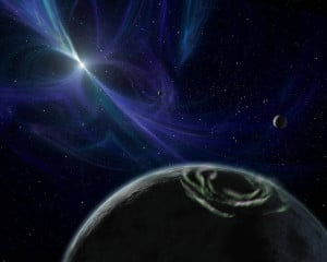 Recreación artística del sistema de PSR B1257+12. Crédito: NASA/JPL-Caltech
