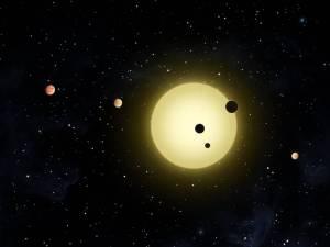 Recreación artística del sistema estelar Kepler-11. Crédito: NASA/JPL-Caltech