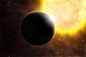 Concepto artístico de un planeta del tamaño de Júpiter y su estrella, algo más masiva que nuestro Sol.  Crédito: ESO