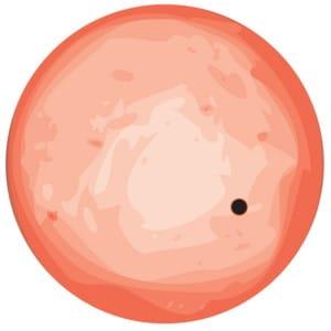 Esta ilustración muestra el paso, a escala, de GJ 1132b por delante de Gliese 1132. Crédito: Zach Berta-Thompson