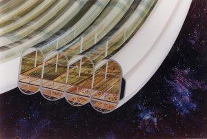 Concepto artístico del módulo agrícola de una colonia espacial con forma de Esfera de Bernal. Crédito: NASA Ames Research Center