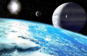 Recreación artística de una hipotética exoluna (luna en torno a un planeta extrasolar) habitable. Crédito: Luciano Mendez
