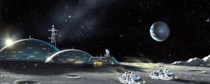 Recreación artística de una base lunar. Crédito: Science Photo Library