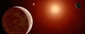 Concepto artístico de planetas orbitando alrededor de una estrella de clase M. Crédito: NASA/JPL-Caltech