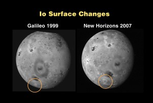 En esta imagen se puede ver la diferencia en la superficie entre las visitas de la sonda Galileo, en 1999, y New Horizons en 2007. Crédito: NASA/Johns Hopkins University Applied Physics Laboratory/Southwest Research Institute